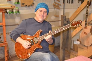 Briggs Guitars artist Scott Sawyer and his custom-build Saturn Deluxe; April 2015